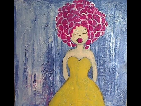 Grungy Folk Art Girl and Background for Beginners