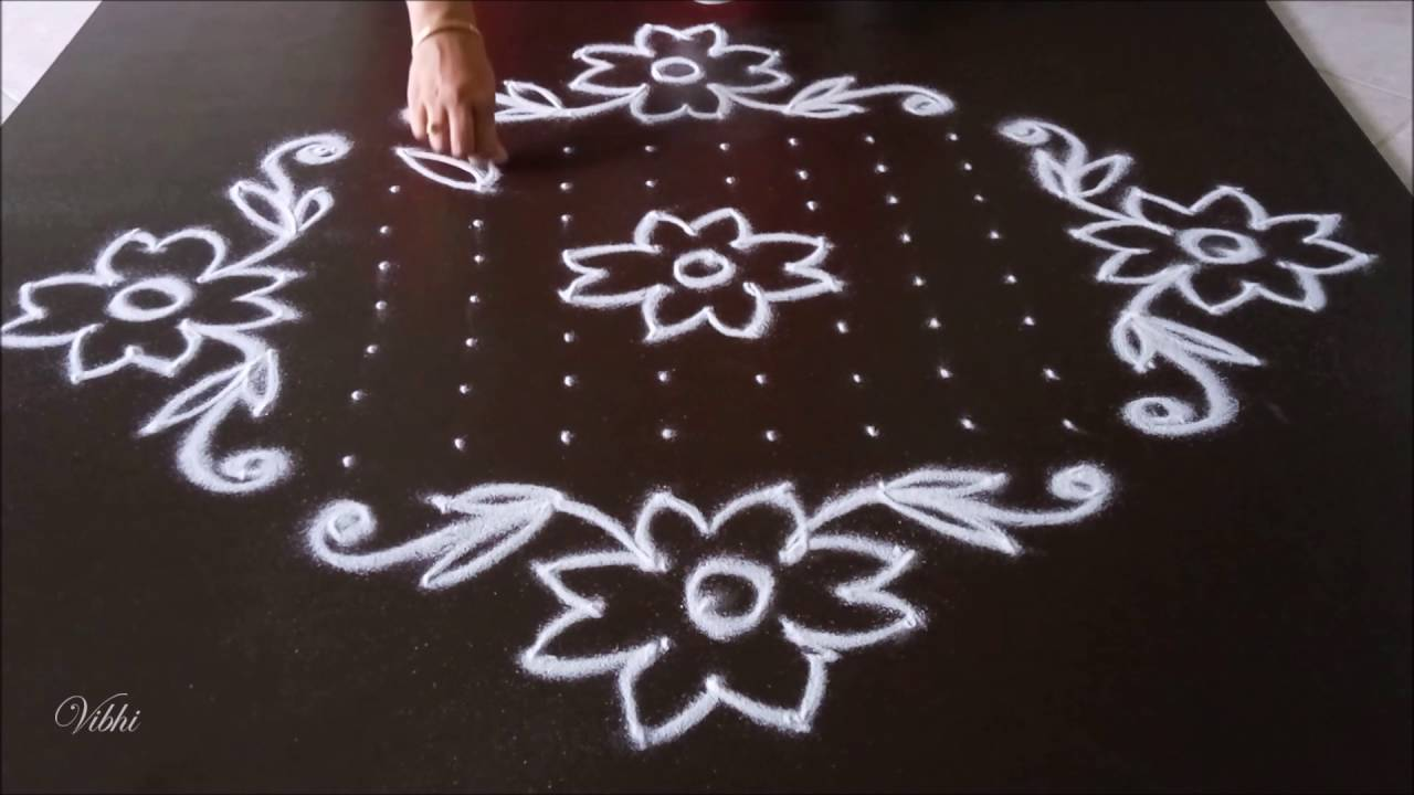 simple flower kolam with 16 dots youtube