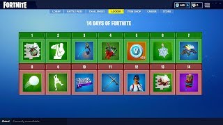 ALL 14 DAYS OF FORTNITE SECRET REWARDS! (Skin, Glider, Emotes, Pet & MORE FREE REWARDS)