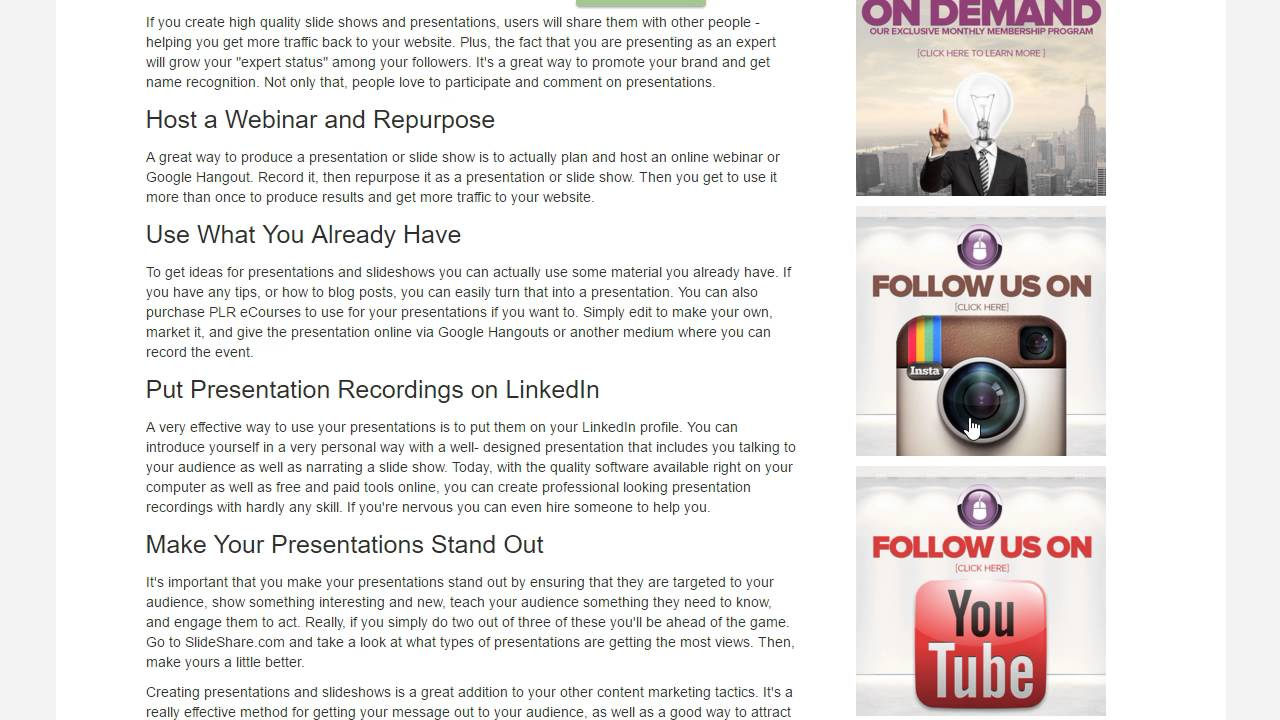 Show scenes page -  Behind The Scenes Blog Site Created In Click Funnels