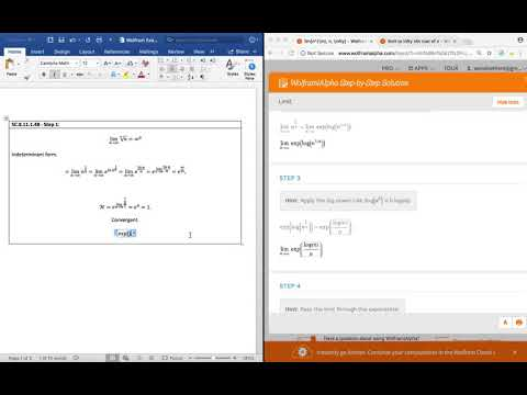 Understanding How To Solve The Limit To Infinity Of N^(1/n) Using Wolfram|Alpha Pro