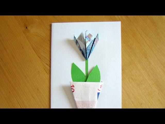 Geldscheine Falten Blume Einfache Geldgeschenke Basteln Blute Mit