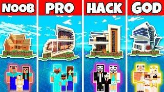 Minecraft Family Island Modern House Build Challenge - Noob Vs Pro Vs Hacker Vs God In Minecraft