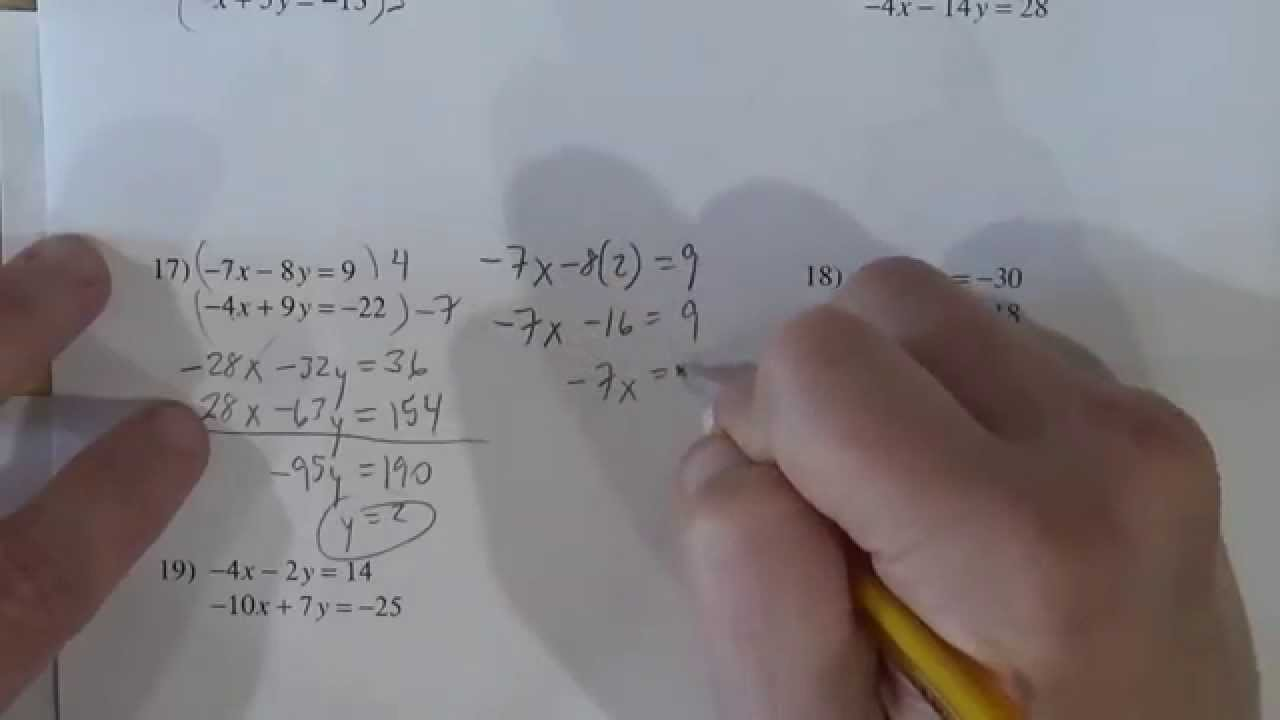 worksheet Solving System Of Equations Worksheet solving systems of equations by elimination kutasoftware worksheet youtube