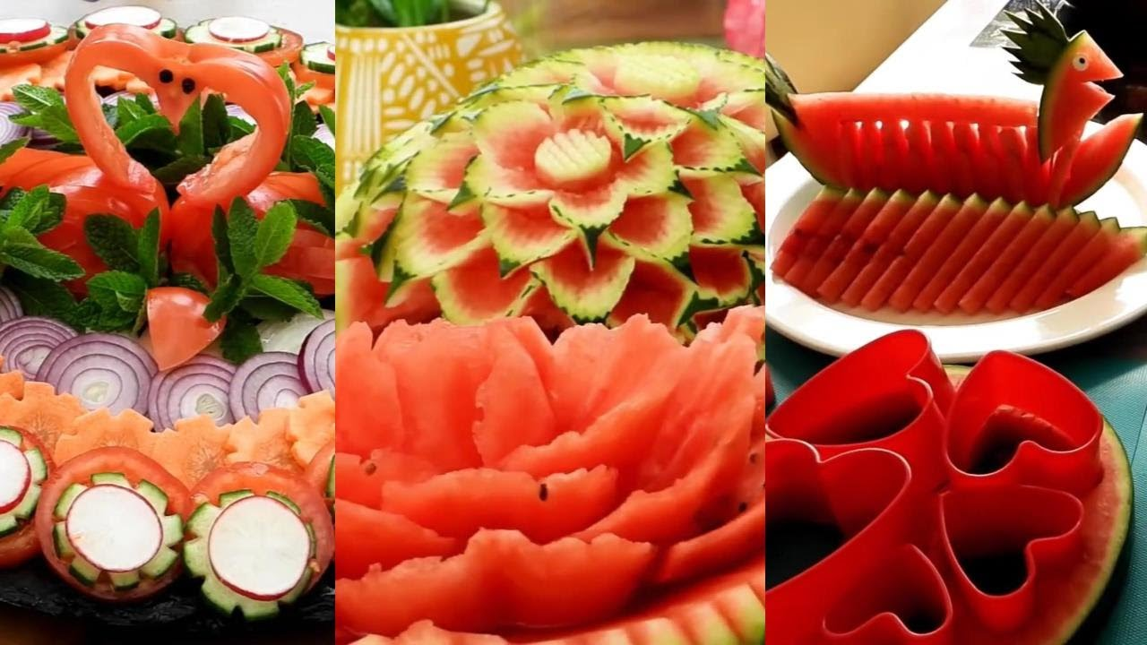 10 Super Fruits Decoration Ideas - Fruit & Vegetable Carving Garnish