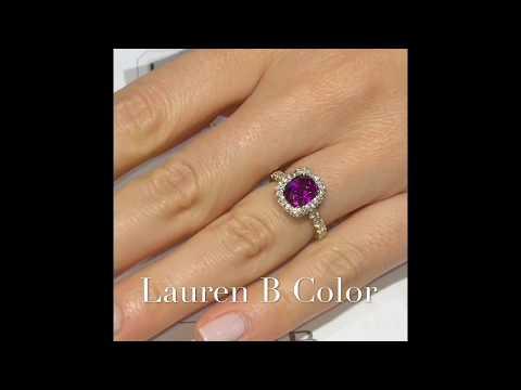 Purple Cushion Cut Garnet Engagement Ring