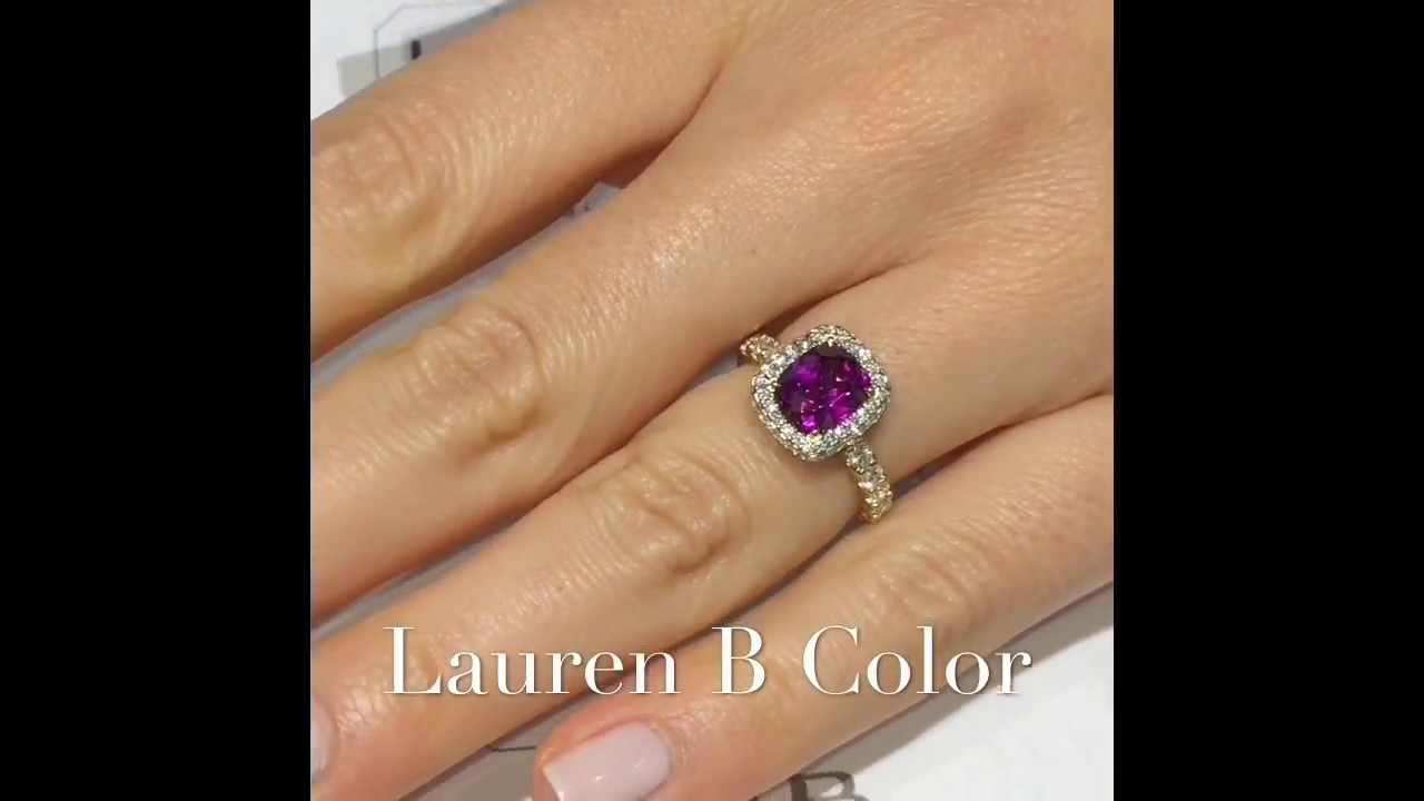 d388f5511cc Purple Cushion Cut Garnet Engagement Ring - YouTube