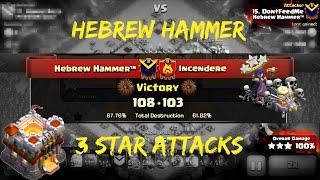Clash of Clans | Elite War 3 Star Attacks - Incendere vs Hebrew Hammer