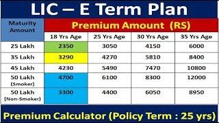 LIC E Term Plan | Term Insurance in Hindi