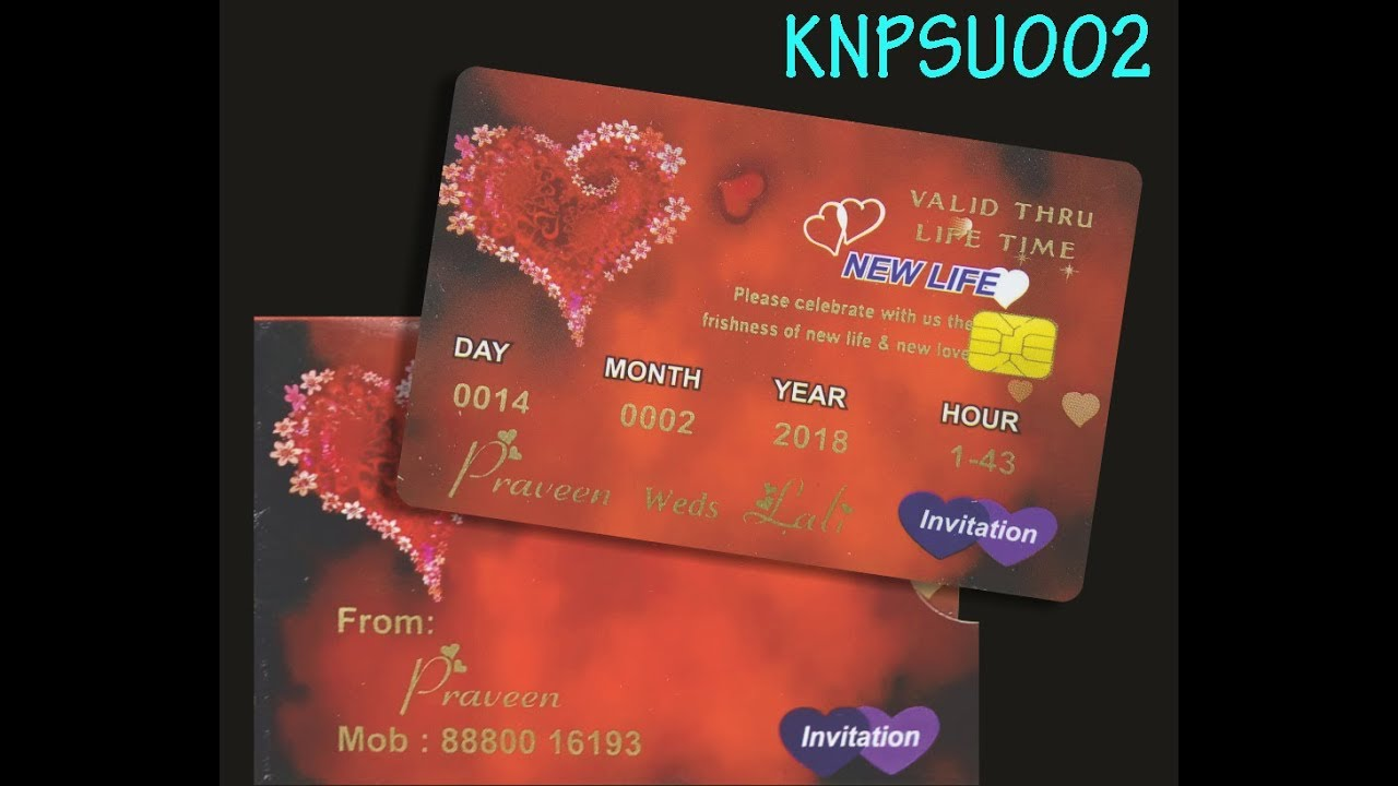 Beautiful Red Shading With ATM Type Personal Wedding Card - KNPSU4