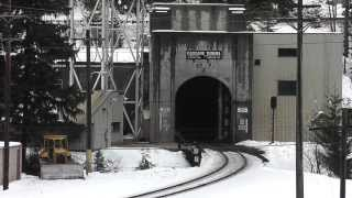 Cascade Tunnel East Portal. BNSF Intermodal train.