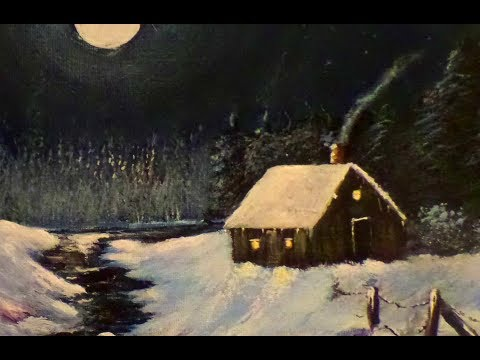 Acrylic Painting Full Lesson Night Winter Cabin By The