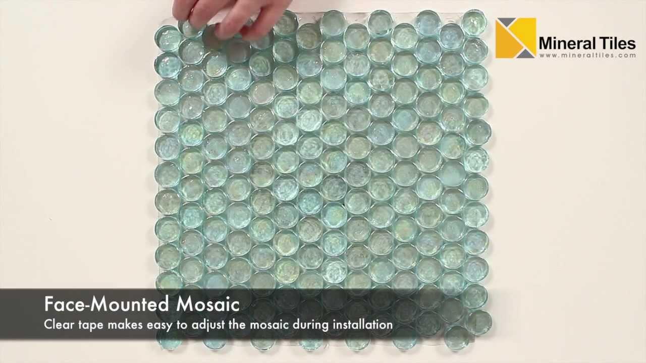 Iridescent Pool Glass Tile Aqua Penny Round - 120KELUTO21321 - YouTube