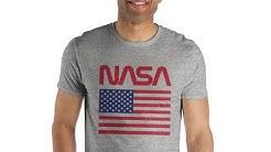 American Flag NASA Gray Men's Specialty Hand Print Tee Shirt T-Shirt 8/7/2019 9:14