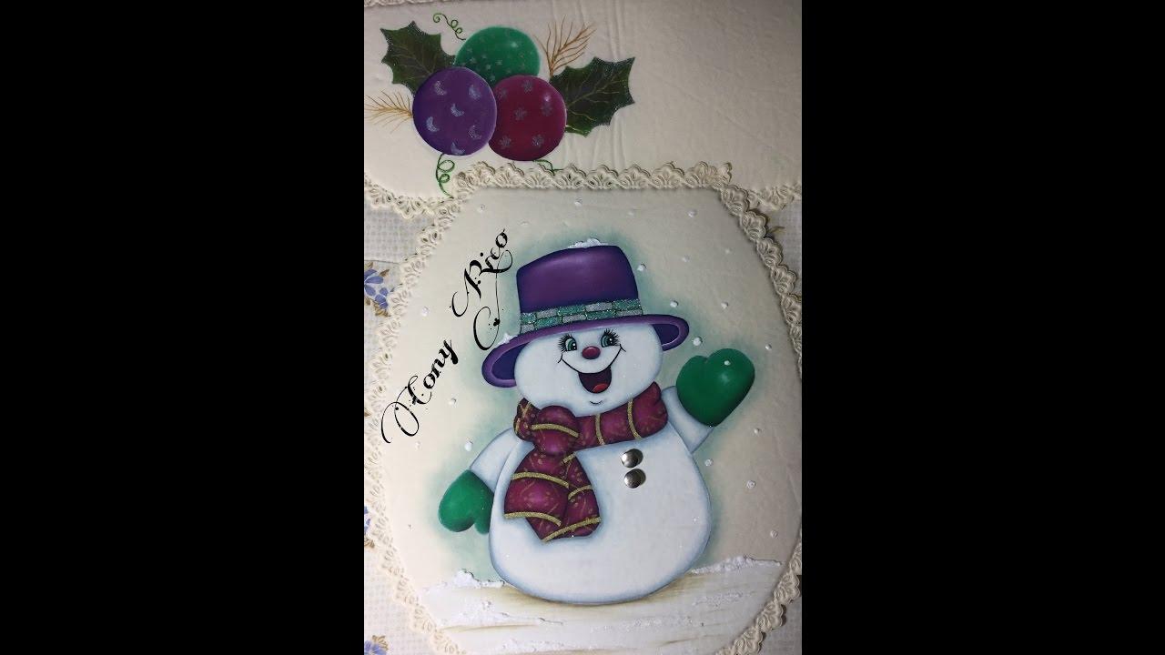 Pintura En Tela Muñeco De Nieve # 1 Con Cony - YouTube