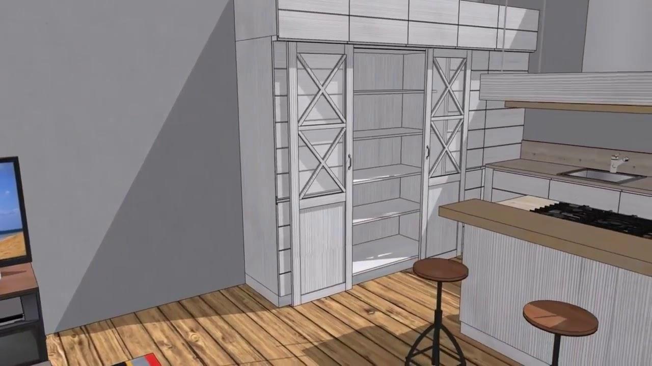Progetto #06 Cucina in larice laccato bianco e zona living Maison du ...