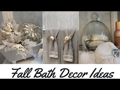 DECORATE WITH ME | SMALL BATHROOM FALL DECOR IDEAS +DOLLAR TREE  DIY