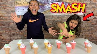 Don't SMASH the Wrong Ice Cream Cone Slime Challenge