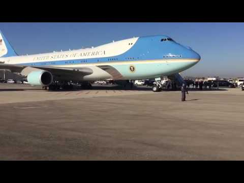 Air Force One lands in Israel