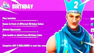 Fortnite 2nd Birthday Challenges UNLOCKED (FREE BIRTHDAY SKIN)