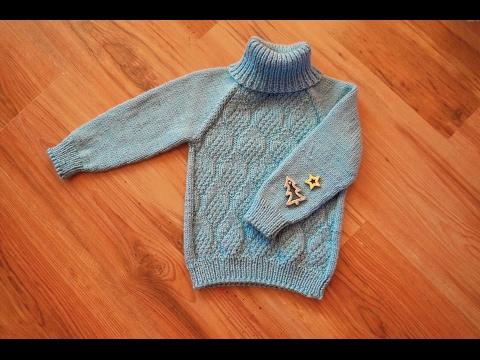 Простой свитер спицами регланом сверху \ как вяжу