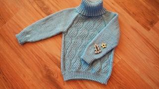Простой свитер спицами регланом сверху \\ как вяжу