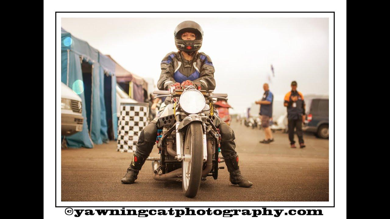 Lizz Mccarthy Drag Racing In Funny Bike Class At Santa Pod Raceway