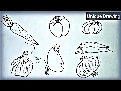 How To Draw Vegetables (Simple Drawing For Kids) Carrot, Onion, Ginger, Chilli, Bell Pappers Etc.