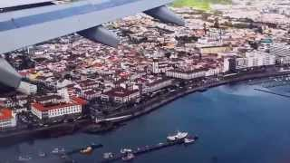 Landing in PDL Ponta Delgada airport in the Azores. Aterragem no aeroporto de Ponta Delgada Açores