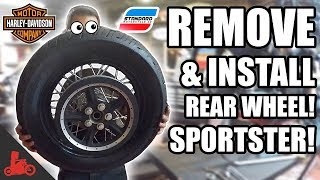 How To Remove & Install REAR WHEEL + Tire Change! - Harley Sportster!