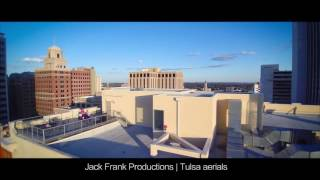 Drone aerials downtown Tulsa