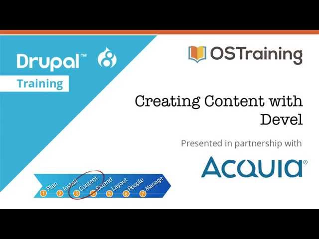 Drupal 8 Beginner, Lesson 33: Creating Content with Devel