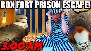 24 HOUR BOX FORT HAUNTED PRISON ESCAPE!!! 📦🚔