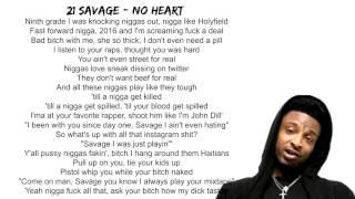 21 Savage   No Heart Lyrics On Screen