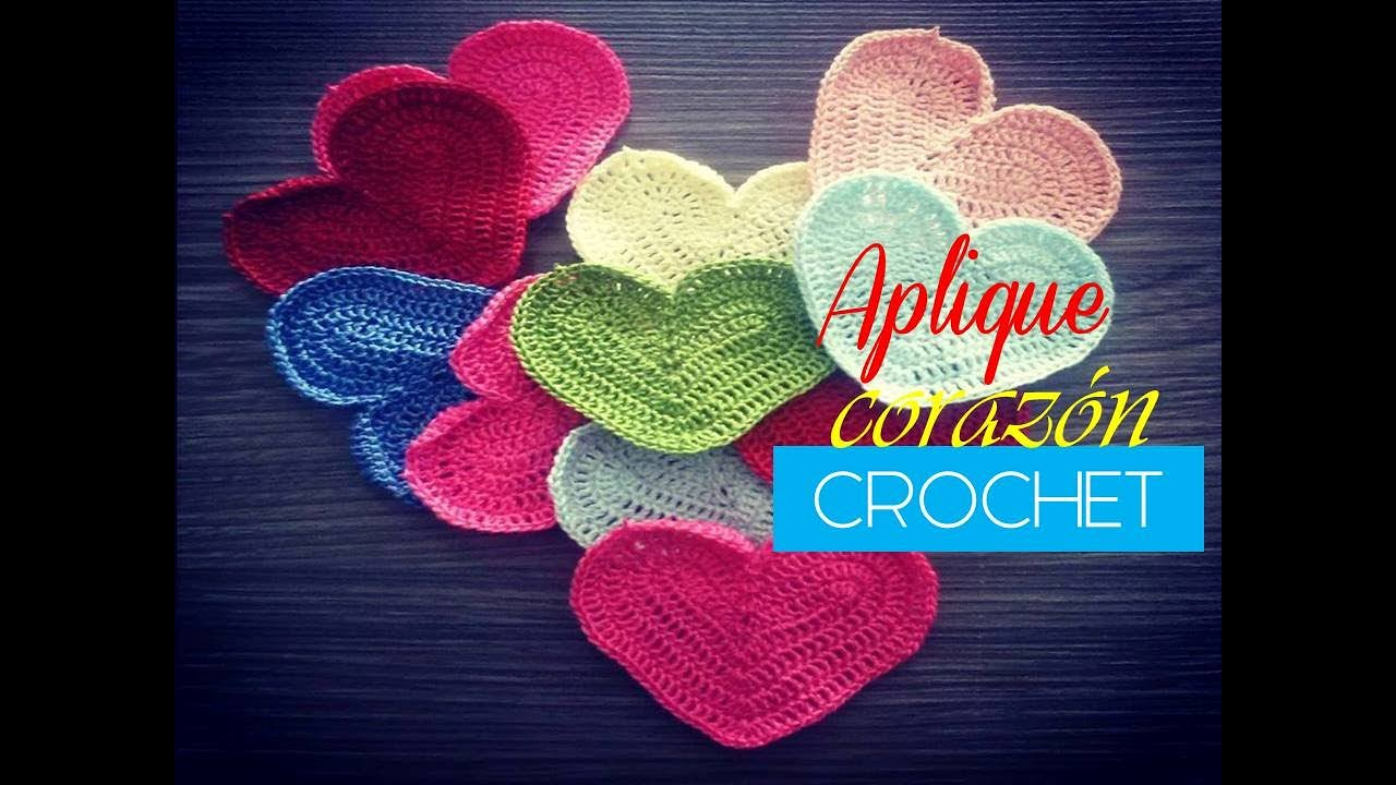 Aplique a crochet: corazón a crochet (diestro) - YouTube