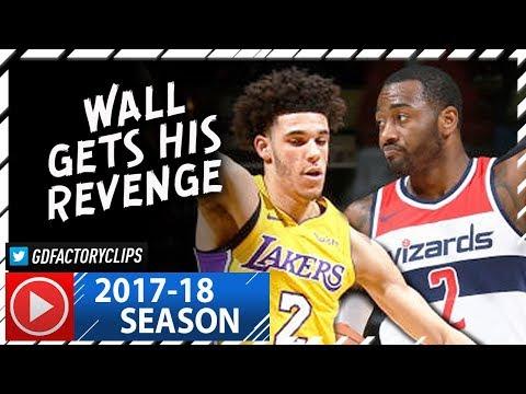 John Wall vs Lonzo Ball SICK PG Duel Highlights (2017.11.09) Wizards vs Lakers - Wall DESTROYS Ball!