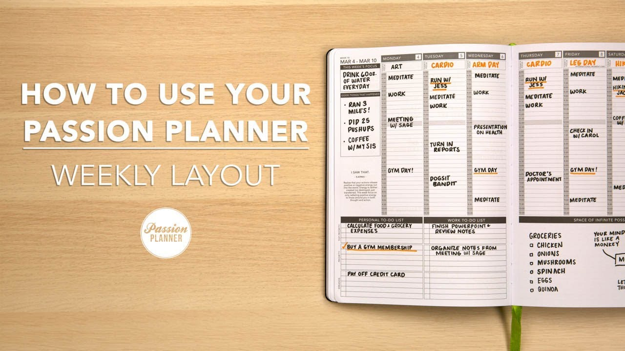 how to use your passion planner weekly layout youtube