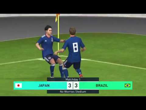 [PES Mobile]일본팀이 무서워서 볼돌리는 양아치 일본플레이어 ㅋㅋㅋㅋㅋ 日本チームを恐れているブラジル