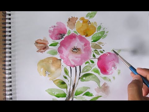 Simple Flower Painting Watercolor For Beginners