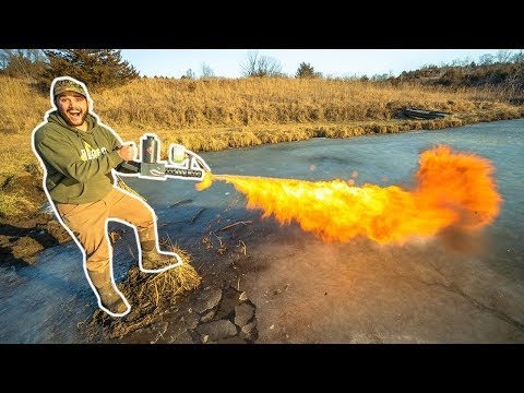 IDIOTS Take FLAMETHROWER Ice Fishing!!! (Bad Idea)