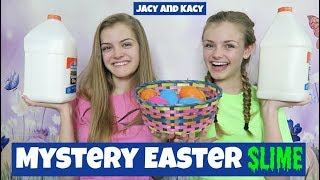Mystery Surprise Easter Slime Challenge ~ Jacy and Kacy