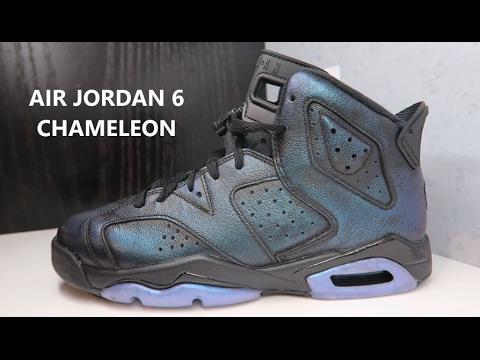 b0aee67bf6a258 Air Jordan 6 Chameleon Allstar GS Grade School Sneaker Review - YouTube