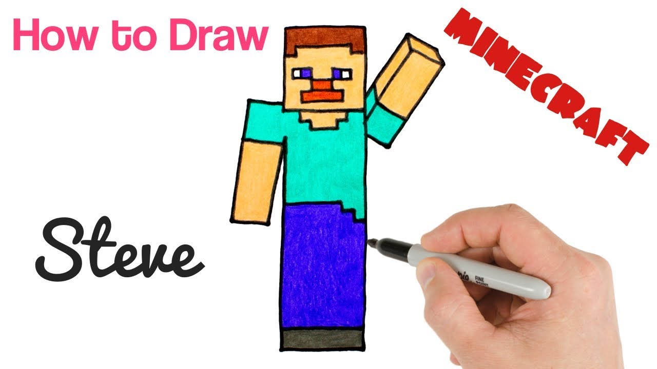 How To Draw Steve From Minecraft Easy Step By Step Drawing Youtube