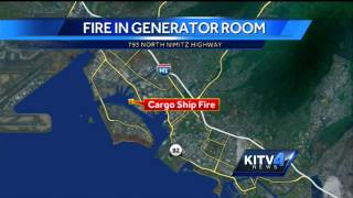 Cargo ship fire in Honolulu Harbor