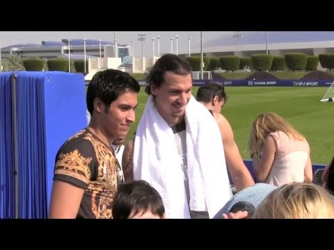 PSG players greets fans after training in Doha, Quatar
