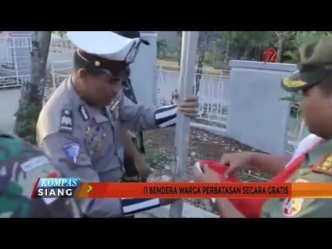 TNI-Polri Ganti Bendera Warga Perbatasan Secara Gratis