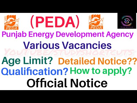 Punjab Energy Development Agency|| Various Vacancies|| Official Notice