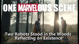 One Marvelous Scene: Two Robots Stood in the Woods Reflecting on Existence
