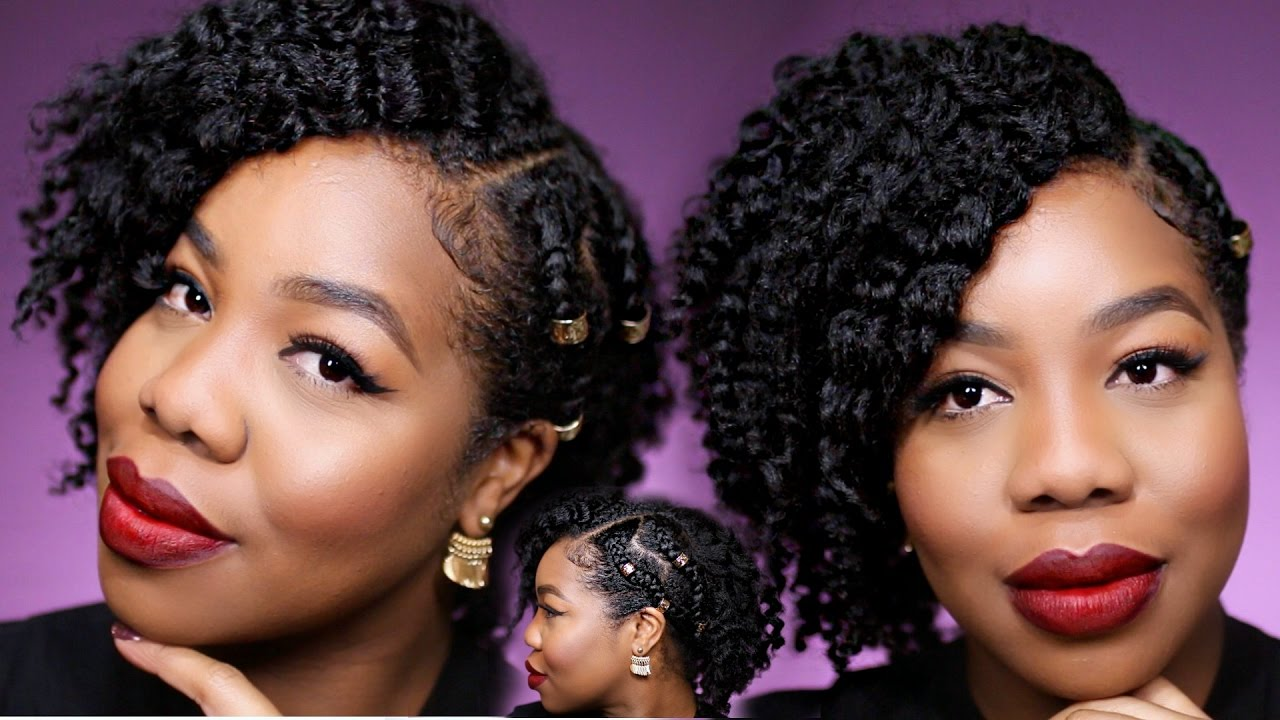 Natural Hair | Flat Twist Out and Side Braids - YouTube