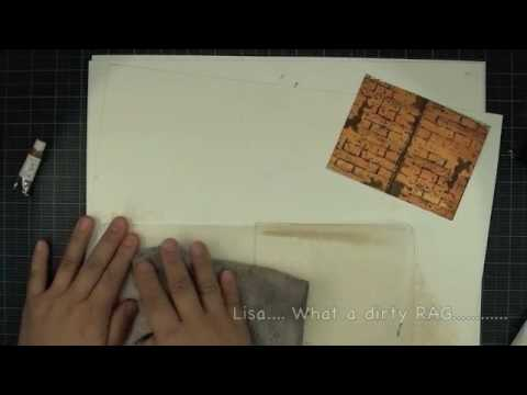 Local King Rubber Stamp Tutorial #54 3D card with red bricks wall and hardwood floor effects